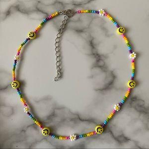 Happy rainbow daisy chain choker necklace
